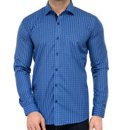 Being Fab Polycotton Full Sleeves Checks Shirt_Bf05 - Blue