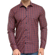 Being Fab Polycotton Full Sleeves Checks Shirt_Bf07 - Red