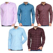 Combo of 5 Being Fab Polycotton Full Sleeves Checks Shirts_Bcm1