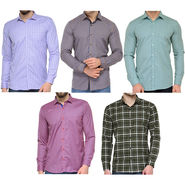Combo of 5 Being Fab Polycotton Full Sleeves Checks Shirts_Bcm2