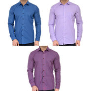 Combo of 3 Being Fab Polycotton Full Sleeves Checks Shirts_Bcm3