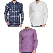 Combo of 3 Being Fab Polycotton Full Sleeves Checks Shirts_Bcm11