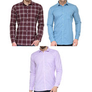 Combo of 3 Being Fab Polycotton Full Sleeves Checks Shirts_Bcm6