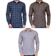 Combo of 3 Being Fab Polycotton Full Sleeves Checks Shirts_Bcm7