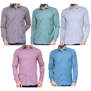 Combo of 5 Being Fab Polycotton Full Sleeves Checks Shirts_Bcm9