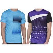 Pack of 2 Half Sleeves Printed Regular Fit Tshirts_Uanb1 - Purple & Blue