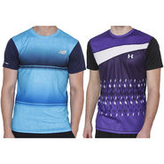 Pack of 2 Half Sleeves Printed Regular Fit Tshirts_Uanb2 - Purple & Blue
