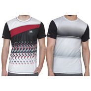 Pack of 2 Half Sleeves Printed Regular Fit Tshirts_Uanb3 - Red & White