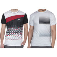 Pack of 2 Half Sleeves Printed Regular Fit Tshirts_Uanb4 - Red & White