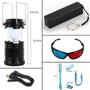 Combo Of 2600 MAh Powerbank + 3D Glass + USB Light + Data Cable And Solar Lantern