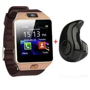 Combo of DZ09 SIM Smart Watch With Camera + Mini Bluetooth Earphone