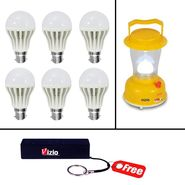 Combo Of 12 Watts Led Bulb(Set Of 6) And Emergency Light