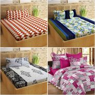 Story@Home 100% Cotton 4 Double Bedsheet with 8 Pillow Covers Dynamic Designs Multi Color _CN_1405-1431-1243-1437