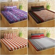 Story@Home 100% Cotton 4 Double Bedsheet with 8 Pillow Covers Dynamic Designs Multi Color _CN_1246-1233-1253-1405