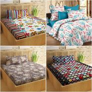 Story@Home 100% Cotton 4 Double Bedsheet with 8 Pillow Covers Dynamic Designs Multi Color _FR_1404-1418-1421-1429