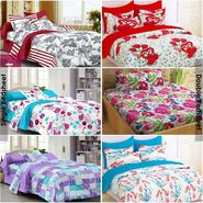 Story@Home 100% Cotton Combo of 3 Double Bedsheet + 3 Single Bedsheet With 9 Pillow Covers _FR_1419-FR1433-FR1418-FY1218-SP1216-SP1208