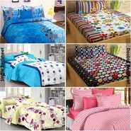 Story@Home 100% Cotton Combo Of 3 Double Bedsheet + 3 Single Bedsheet With 9 Pillow Covers _FR_1417-FR1406-FR1404-FY1222-SP1206-SP1214