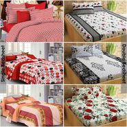 Story@Home 100% Cotton Combo of 3 Double Bedsheet + 3 Single Bedsheet With 9 Pillow Covers _CN_1407-CN1437-CN1439-SP1215-SP1205-FY1202