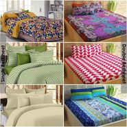 Story@Home 100% Cotton Combo Of 3 Double Bedsheet + 3 Single Bedsheet With 9 Pillow Covers _CN_1435-CN1404-CN1422-SP2001-SP1207-FY1106