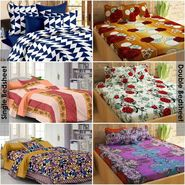 Story@Home 100% Cotton Combo Of 3 Double Bedsheet + 3 Single Bedsheet With 9 Pillow Covers _CN_1203-CN1407-CN1422-FY1402-FY1106-SP1215