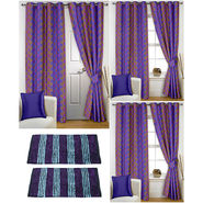 Story@Home Curtains Combo of 2 Pc Door Curtiants 7 Feet + 4 Pc Window Curtains 5 Feet + 2 Pc Doormat free _ DNR_2076-WNR_2-2076-EC_2-1422