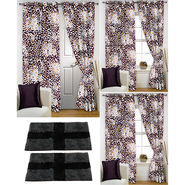 Story@Home Curtains Combo of 2 Pc Door Curtiants 7 Feet + 4 Pc Window Curtains 5 Feet + 2 Pc Doormat free _ DNR_2077-WNR_2-2077-EC_2-1432