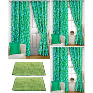 Story@Home Curtains Combo of 2 Pc Door Curtiants 7 Feet + 4 Pc Window Curtains 5 Feet + 2 Pc Doormat free _ DNR_3020-WNR_2-3020-EC_2-1416