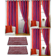 Story@Home Curtains Combo of 2 Pc Door Curtiants 7 Feet + 4 Pc Window Curtains 5 Feet + 2 Pc Doormat free _ DNR_3021-WNR_2-3021-EC_2-1415