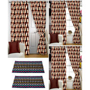 Story@Home Curtains Combo of 2 Pc Door Curtiants 7 Feet + 4 Pc Window Curtains 5 Feet + 2 Pc Doormat free _ DNR_3051-WNR_2-3051-EC_2-1203