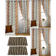 Story@Home Curtains Combo of 2 Pc Door Curtiants 7 Feet + 4 Pc Window Curtains 5 Feet + 2 Pc Doormat free _ DNR_3077-WNR_2-3077-EC_2-1427