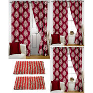 Story@Home Curtains Combo of 2 Pc Door Curtiants 7 Feet + 4 Pc Window Curtains 5 Feet + 2 Pc Doormat free _ DTA_1408-WTA_2-1408-EC_2-1426