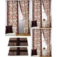Story@Home Curtains Combo of 2 Pc Door Curtiants 7 Feet + 4 Pc Window Curtains 5 Feet + 2 Pc Doormat free _ DTA_1409-WTA_2-1409-EC_2-1431