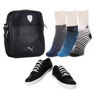 Combo of Shoes + 1 Sling Bag + 3 Socks Pair_Osc03