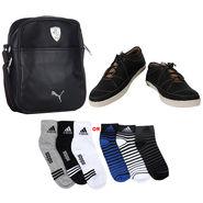 Combo of Shoes + 1 Sling Bag + 3 Socks Pair_Osc04