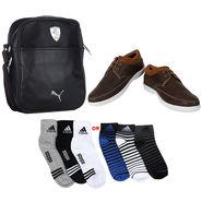 Combo of Shoes + 1 Sling Bag + 3 Socks Pair_Osc07