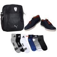 Combo of Shoes + 1 Sling Bag + 3 Socks Pair_Osc10