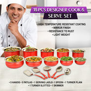 15 Pcs Designer Cook & Serve Set