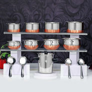 16 Pcs Copper Base Cook & Serve Set + Milk Boiler
