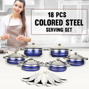 18 Pcs Colored Steel Serving Set