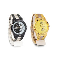 2 Men's Gold + Black Watches (Dual Tone)