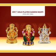 24K Gold Plated Ganesh Idol - Pick Any One