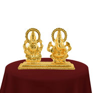 24K Gold Plated Laxmi-Ganesh Idol