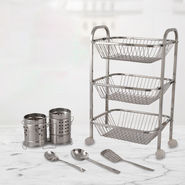 3 Floor Kitchen Trolly with Cutlery Holder Set And 5 Tools