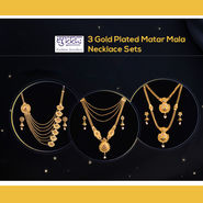 3 Gold Plated Matar Mala Necklace Sets