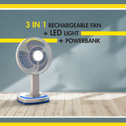 3 in 1 Rechargeable Powerbank Fan with LED Light