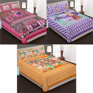 Set of 3 Jaipuri Cotton Double King Size Bedsheets With 6 Pillow Covers -100C4