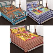Set of 3 Jaipuri Cotton Double King Size Bedsheets With 6 Pillow Covers -100C5