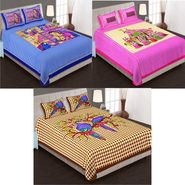 Set of 3 Jaipuri Cotton Double King Size Bedsheets With 6 Pillow Covers -100C9
