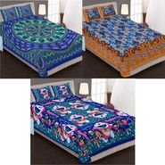 Set of 3 Jaipuri Cotton Double Bedsheets With 6 Pillow Covers -90C10