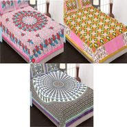 Set of 3 Traditional Jaipuri Print Double Bedsheets with 6 Pillow Covers-3B84X90C15